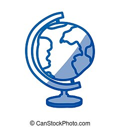 blue shading silhouette of hand drawn earth globe