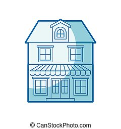 blue shading silhouette of house with two floors with attic...