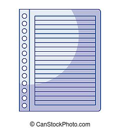 blue shading silhouette of striped notebook sheet in blank