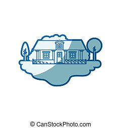 blue shading silhouette scene of outdoor landscape and country house with railing