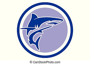 blue shark logo vector