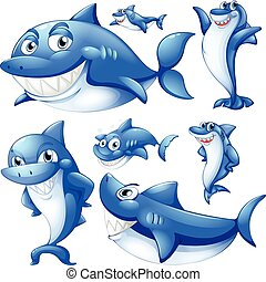 Blue sharks in different positions illustration