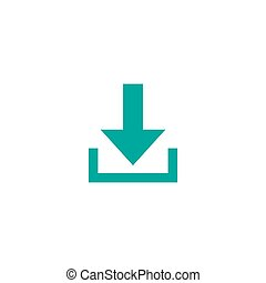 Blue sharp arrow down icon. download sign. isolated on white