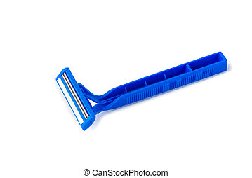 Blue shaver isolated on white background