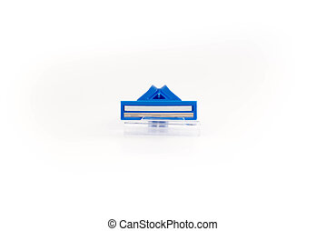 Blue shaving razor on a white background