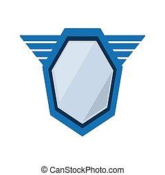 blue shield emblem winged shape geometric badge