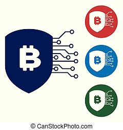 Blue Shield with bitcoin icon on white background. Cryptocurrency mining, blockchain technology, bitcoin, security, protect, digital money. Set color icon in circle buttons. Vector Illustration
