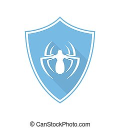 Blue shield with spider icon. Vector illustration