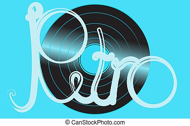Blue shimmering vinyl musical analogue retro old antique antique hipster vintage gramophone record for a vinyl gramophone and an inscription retro on a blue background. Vector illustration