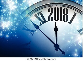 2018 New Year background with clock. - Blue shining 2018 New...