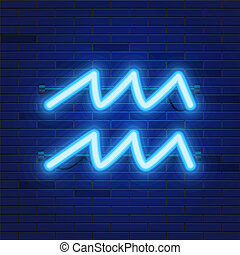 Blue shining cosmic neon zodiac Aquarius symbol on brick wall background. Astrology concept.