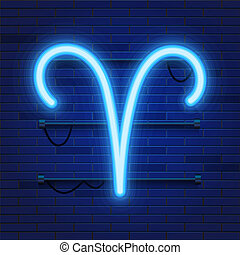 Blue shining cosmic neon zodiac Aries symbol on brick wall background. Astrology concept.