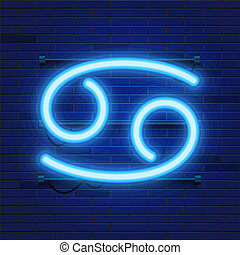 Blue shining cosmic neon zodiac Cancer symbol on brick wall background. Astrology concept.