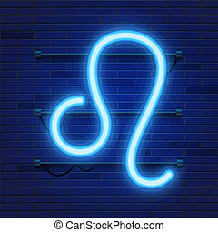 Blue shining cosmic neon zodiac Leo symbol on brick wall background. Astrology concept.