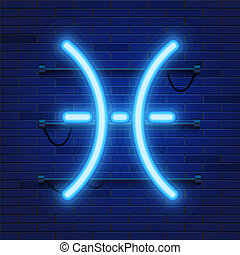 Blue shining cosmic neon zodiac Pisces symbol on brick wall background. Astrology concept.
