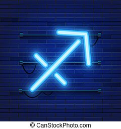 Blue shining cosmic neon zodiac Sagittarius symbol on brick wall background. Astrology concept.