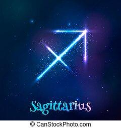 Blue shining cosmic neon zodiac symbol