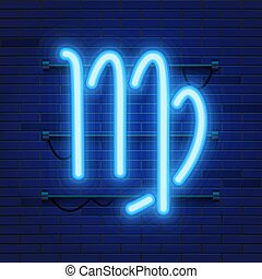 Blue shining cosmic neon zodiac Virgo symbol on brick wall background. Astrology concept.