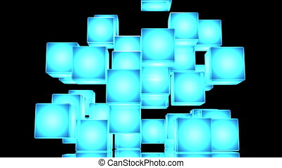 Blue Shining Cube Abstract