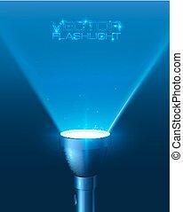 Blue shining flashlight light vector background - Blue...