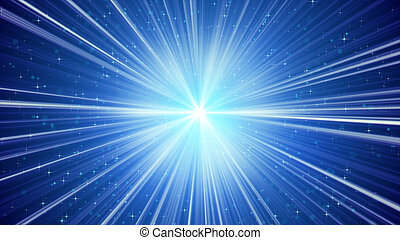 blue shining light rays and stars. computer generated abstract background