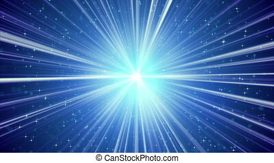 blue shining light rays and stars loopable background