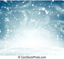 Blue shiny background with winter landscape, snow and...