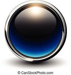 Blue shiny button with metallic elements, 3D glossy design