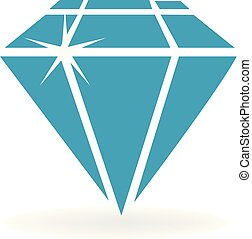 Blue shiny diamond vector