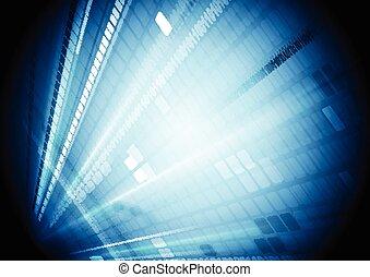 Blue shiny hi-tech motion background. Vector technical...