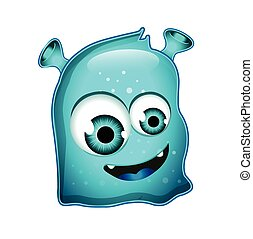 Blue Shiny Jelly Monster Character Isolated on White