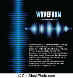 Blue shiny sound waveform background