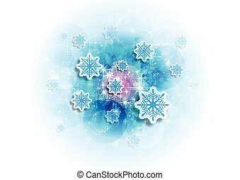 Blue shiny sparkling Christmas winter background with snowflakes