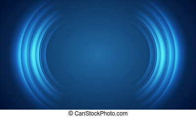 Blue shiny technology motion background with abstract round shapes