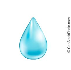 Blue Shiny Water Drop Isolated on White Background