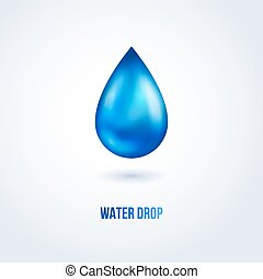 Blue shiny water drop. Vector illustration.