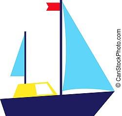 Blue ship flat illustration on white