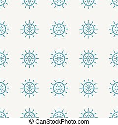 Blue Ship steering wheel icon isolated seamless pattern on gray background. Vector