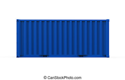 Blue Shipping Container isolated on white background. 3D...