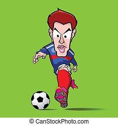 blue shirt control football cartoon eps 10 vector