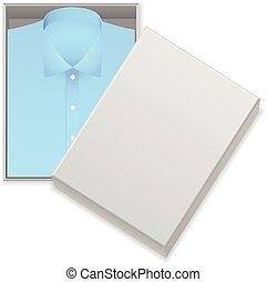 Blue shirt in box on a white background.