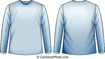 Blue shirt - Long sleeves blue shirt with front and back...
