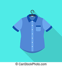 Blue shirt on hanger icon, flat style
