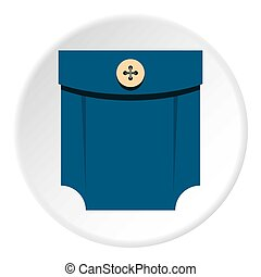 Blue shirt pocket with button icon circle