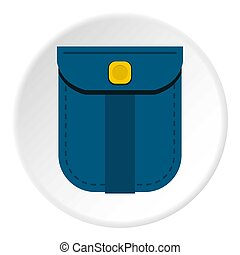 Blue shirt pocket with yellow button icon circle
