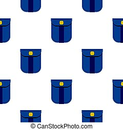 Blue shirt pocket with yellow button pattern flat
