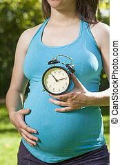 blue shirt pregnant countdown - young pregnant woman blue...
