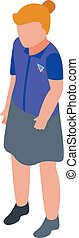 Blue shirt school uniform icon, isometric style
