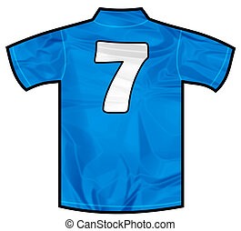 Blue shirt seven - Number 7 seven Blue sport shirt as a...