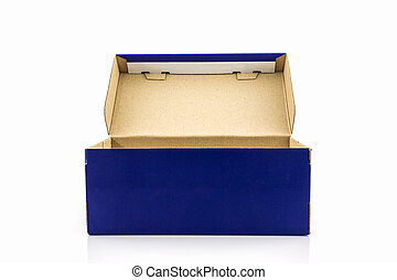 Blue shoe box with clipping path. - Blue shoe box with...
